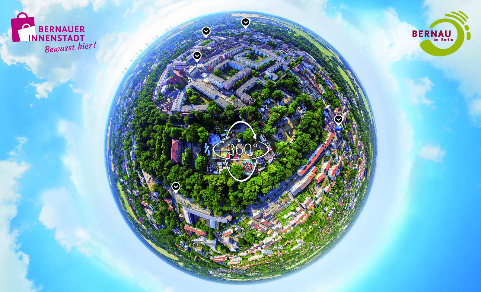 Bernau von oben – tiny planet – Fotograf Stefan Klenke für vr-easy - © BeSt Bernauer Stadtmarketing GmbH