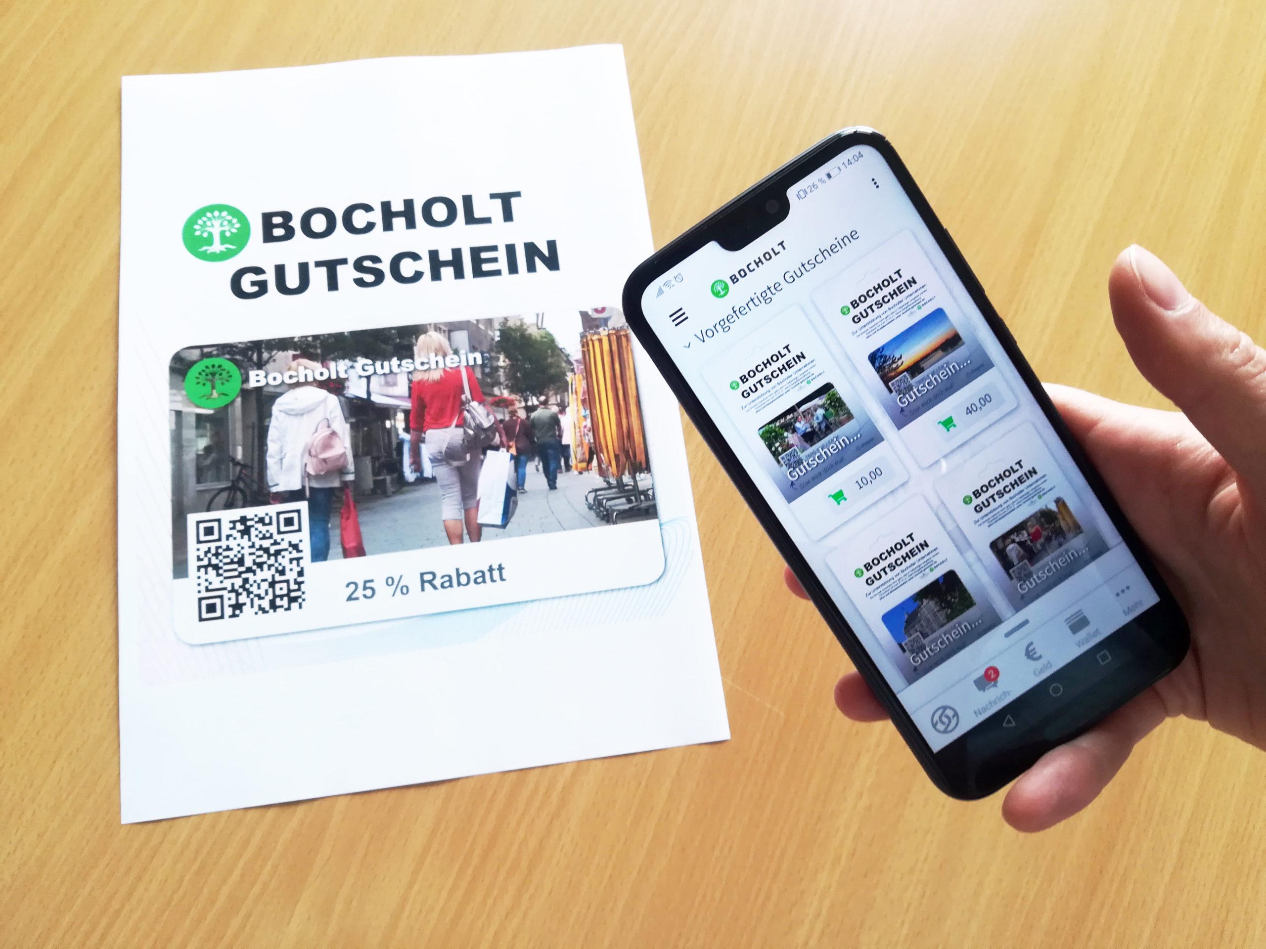 Bocholt Gutschein, analog und digital –Wirtschaftsförderungs- und Stadtmarketing Gesellschaft Bocholt