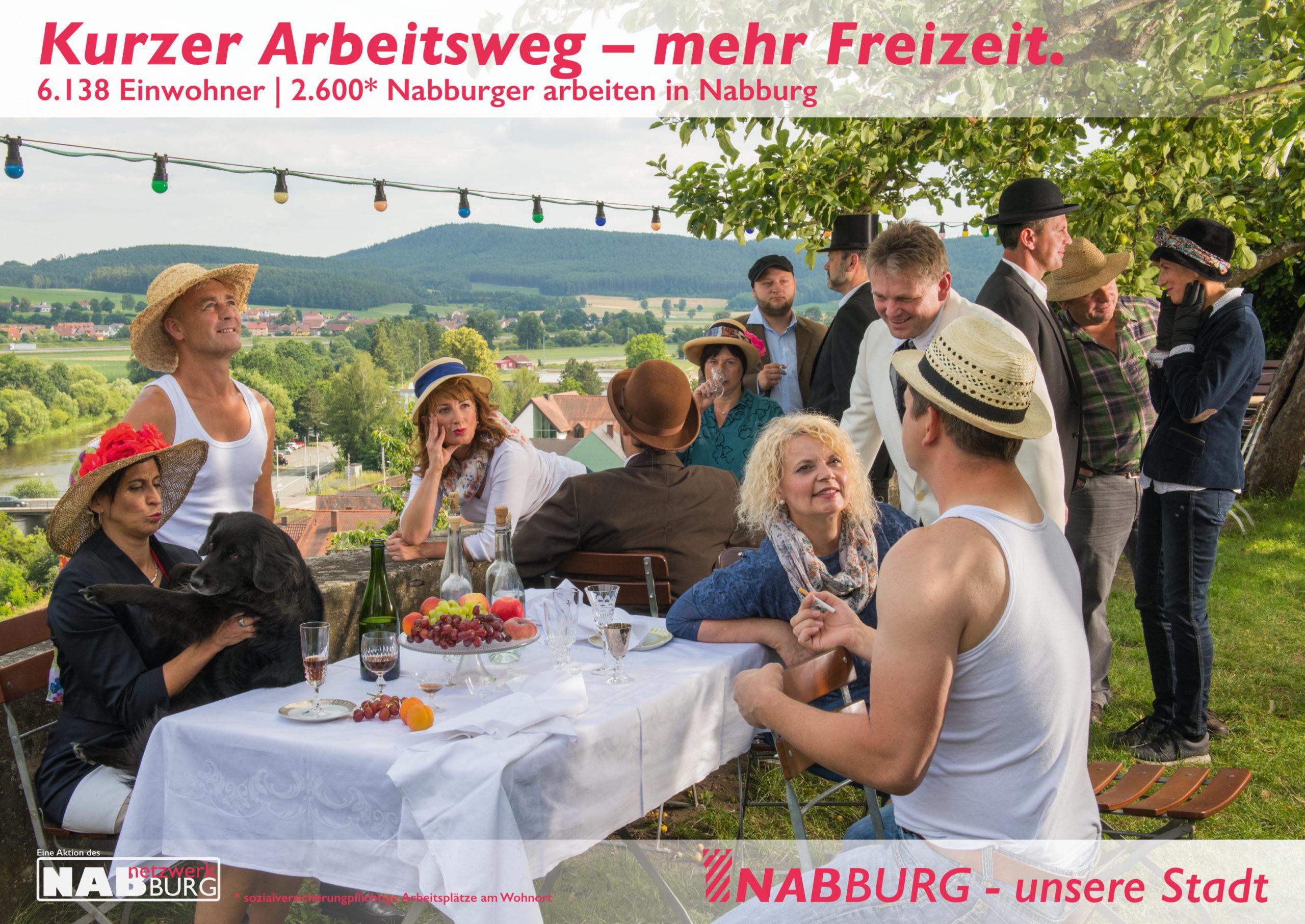 Plakat zum Thema Arbeitsplätze in Nabburg nach dem Bild Frühstück der Ruderer von Auguste Renoir_Fotograf Klaus Kurz_Grafik Wolfgang Engel, © netzwerkNABburg